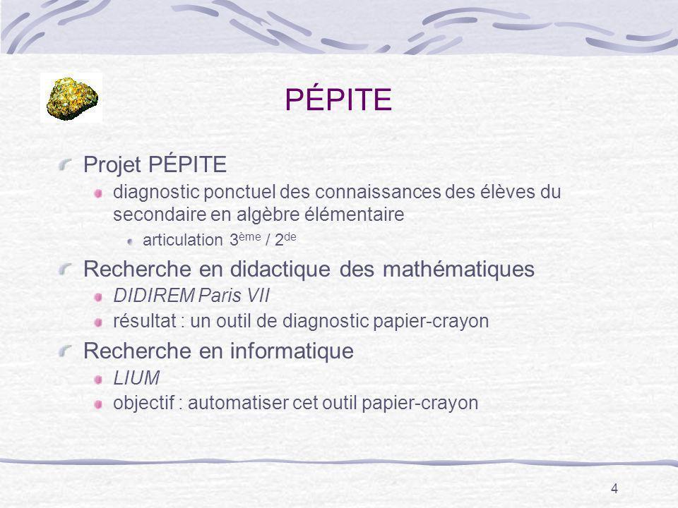 PÉPITE Projet PÉPITE Recherche en didactique des mathématiques