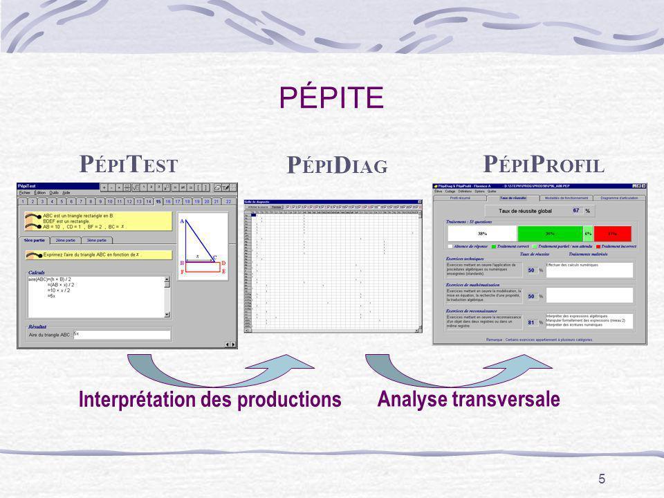 PÉPITE PÉPITEST PÉPIDIAG PÉPIPROFIL Interprétation des productions