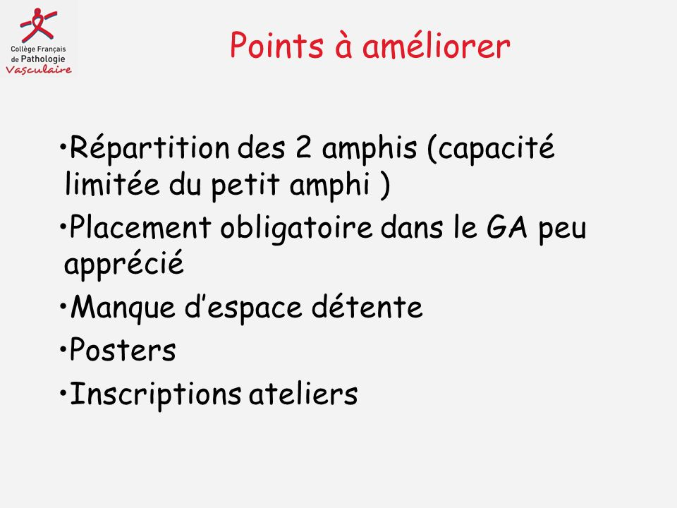 Points à améliorer Répartition des 2 amphis (capacité limitée du petit amphi ) Placement obligatoire dans le GA peu apprécié.