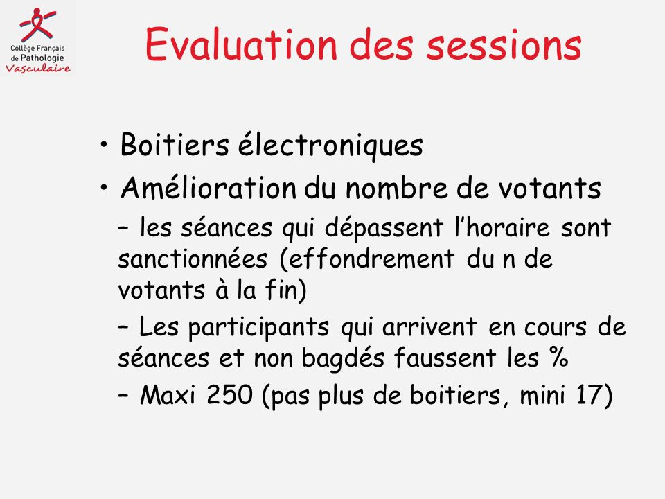Evaluation des sessions