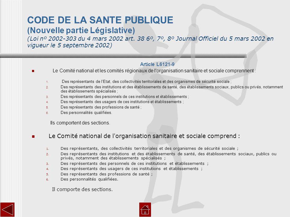 CODE DE LA SANTE PUBLIQUE (Nouvelle partie Législative) (Loi nº 2002-303 du 4 mars 2002 art. 38 6º, 7º, 8º Journal Officiel du 5 mars 2002 en vigueur le 5 septembre 2002)