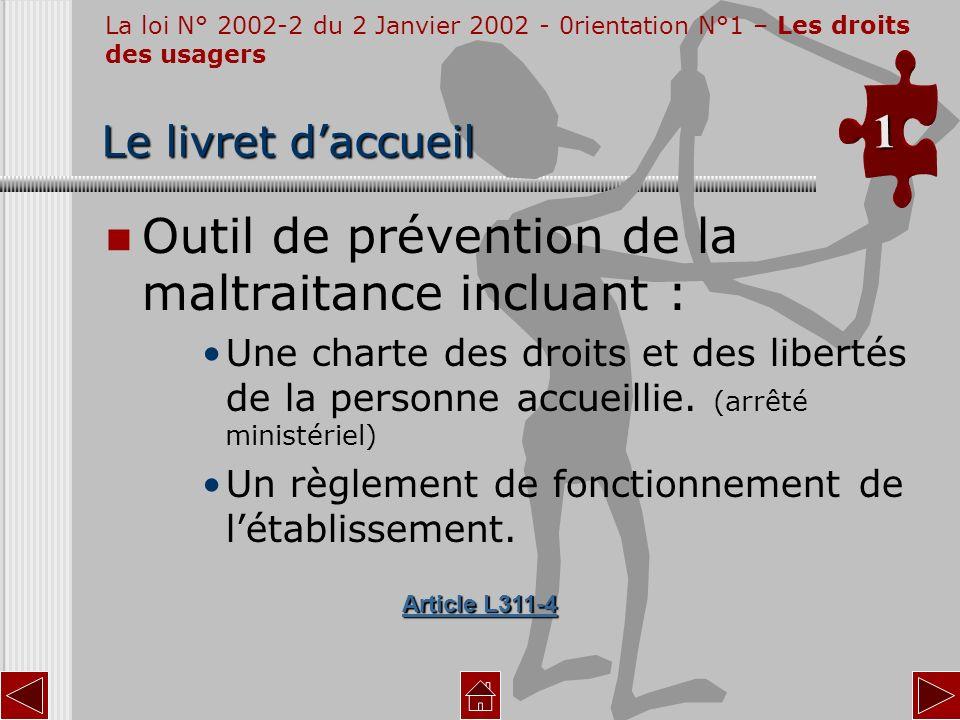 Outil de prévention de la maltraitance incluant :