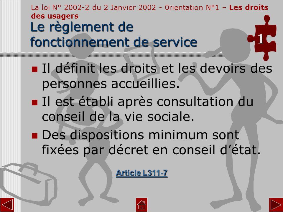 Le règlement de fonctionnement de service