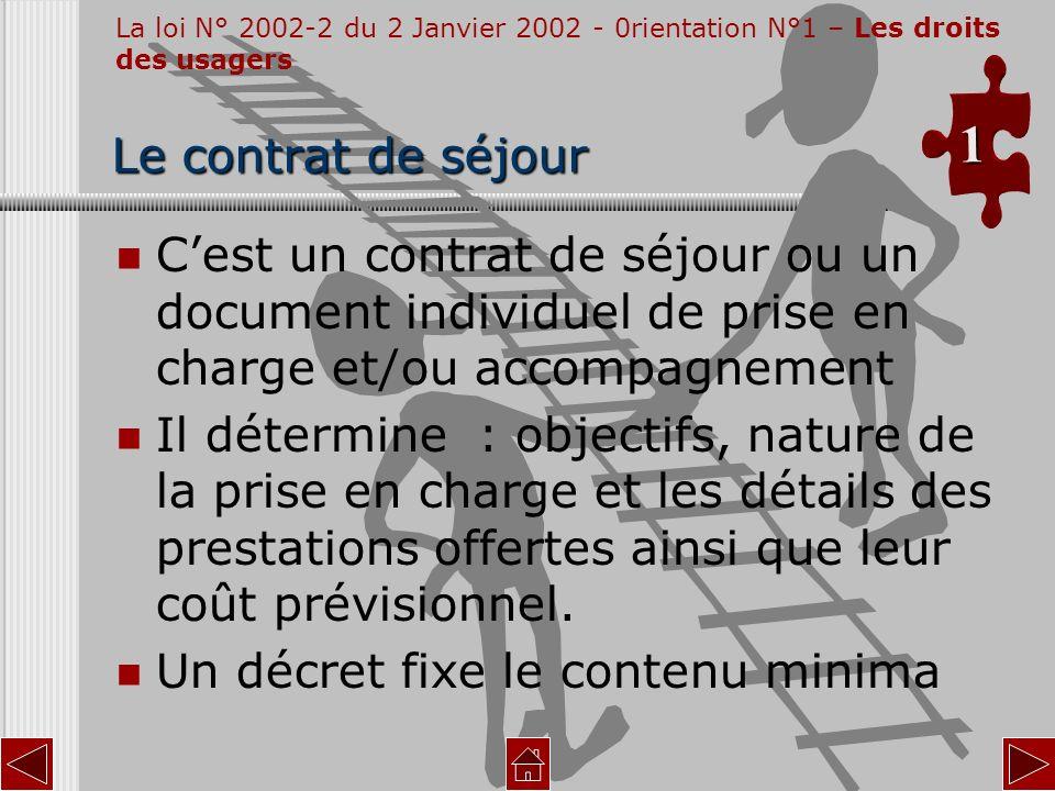 La loi N° 2002-2 du 2 Janvier 2002 - 0rientation N°1 – Les droits des usagers