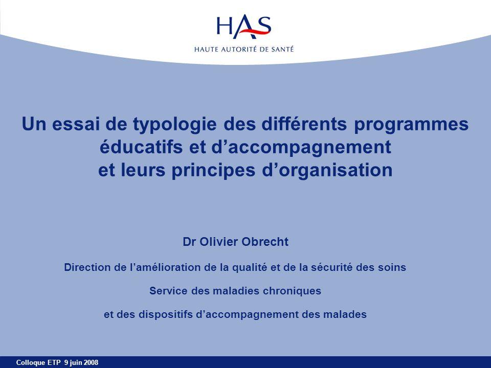 Un essai de typologie des différents programmes éducatifs et d'accompagnement et leurs principes d'organisation