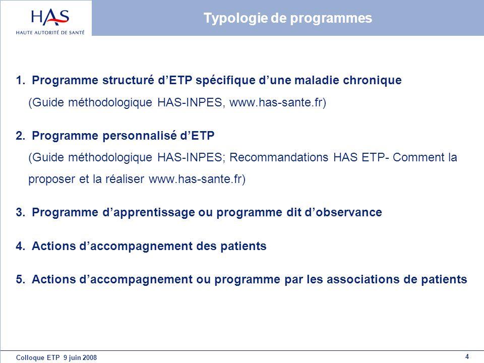 Typologie de programmes
