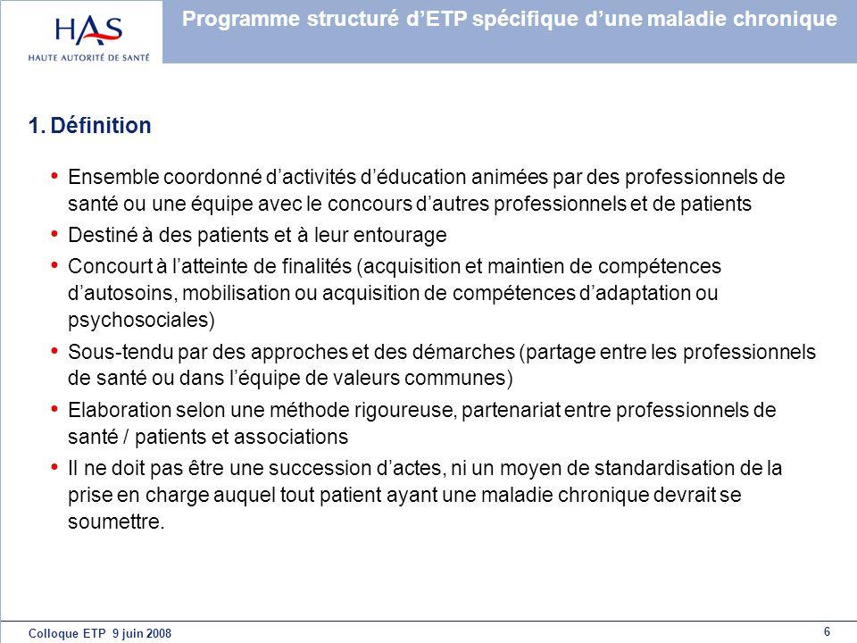 Programme structuré d'ETP spécifique d'une maladie chronique