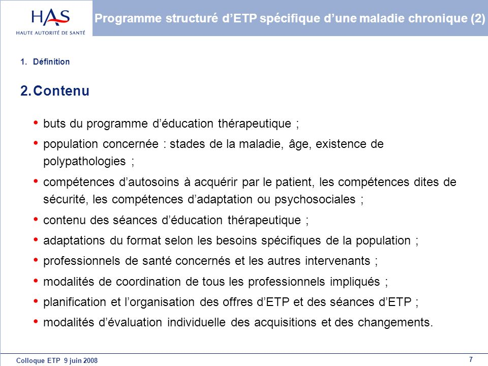 Programme structuré d'ETP spécifique d'une maladie chronique (2)
