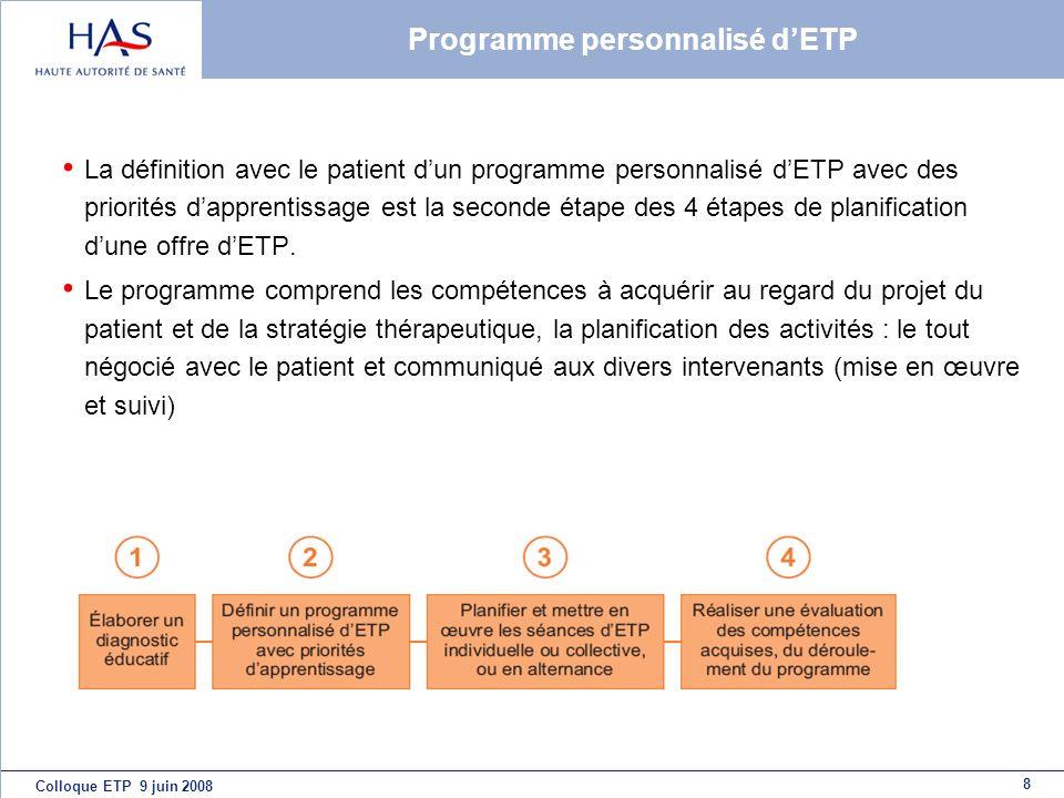 Programme personnalisé d'ETP