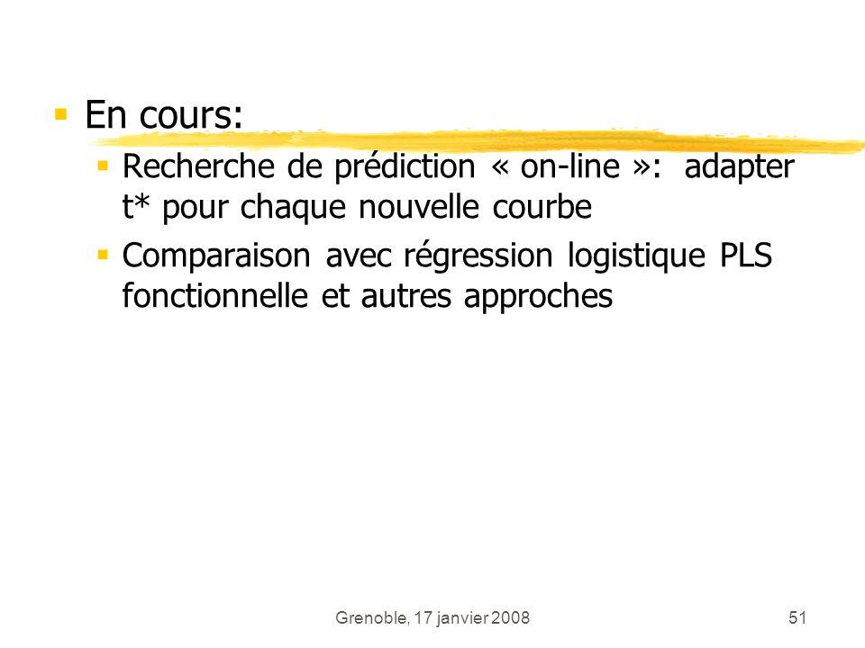 En cours: Recherche de prédiction « on-line »: adapter t* pour chaque nouvelle courbe.