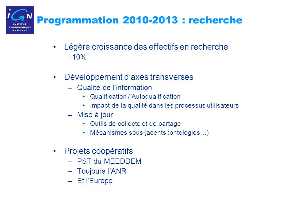 Programmation 2010-2013 : recherche