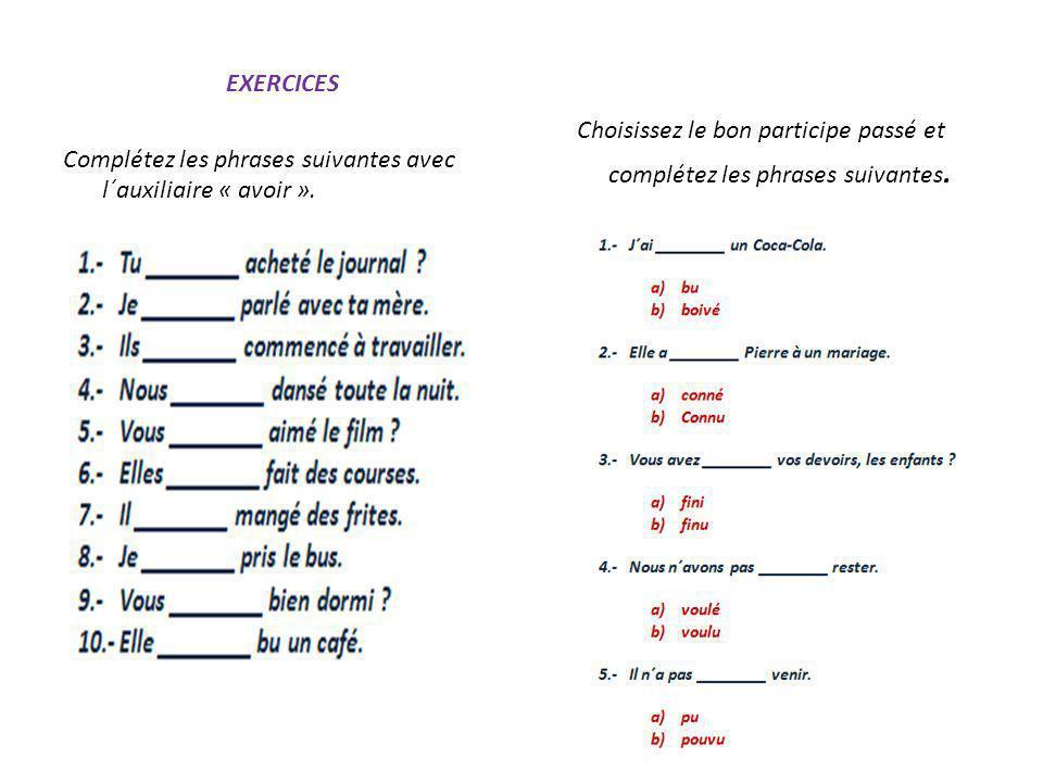 EXERCICES Complétez les phrases suivantes avec l´auxiliaire « avoir ».