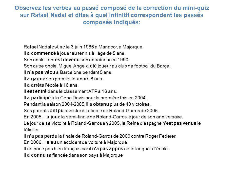 Observez les verbes au passé composé de la correction du mini-quiz sur Rafael Nadal et dites à quel infinitif correspondent les passés composés indiqués: