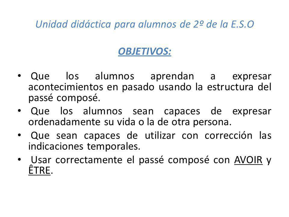 Unidad didáctica para alumnos de 2º de la E.S.O OBJETIVOS: