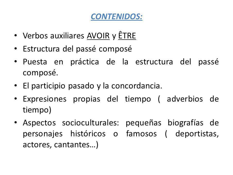 CONTENIDOS: Verbos auxiliares AVOIR y ÊTRE. Estructura del passé composé. Puesta en práctica de la estructura del passé composé.