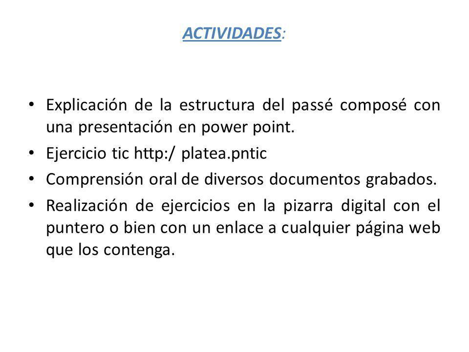 ACTIVIDADES: Explicación de la estructura del passé composé con una presentación en power point.