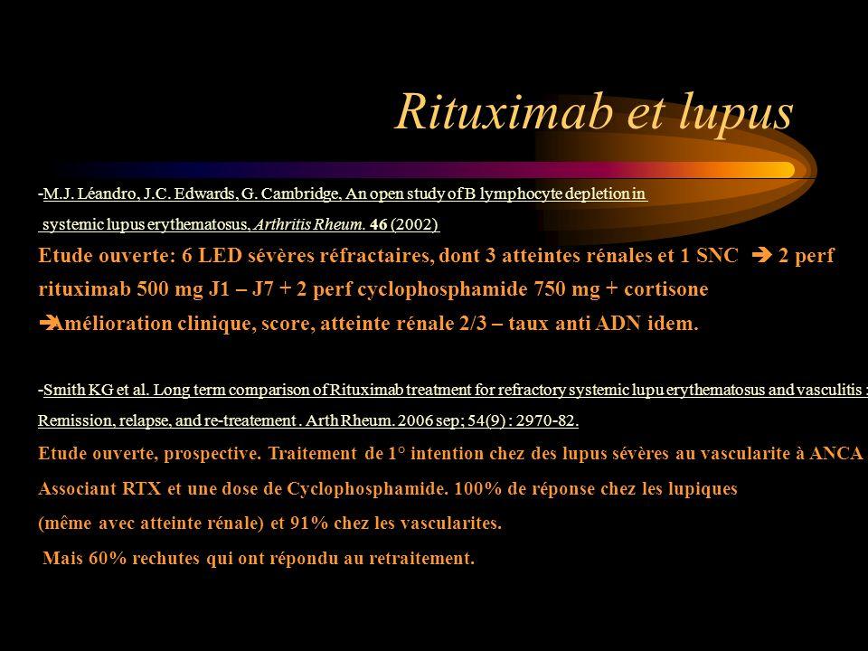 Rituximab et lupus M.J. Léandro, J.C. Edwards, G. Cambridge, An open study of B lymphocyte depletion in.