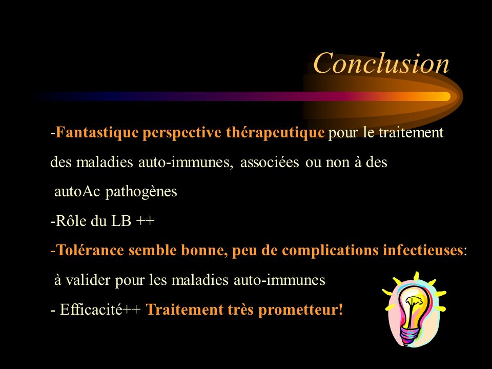 Conclusion -Fantastique perspective thérapeutique pour le traitement