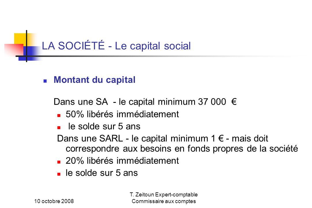 LA SOCIÉTÉ - Le capital social