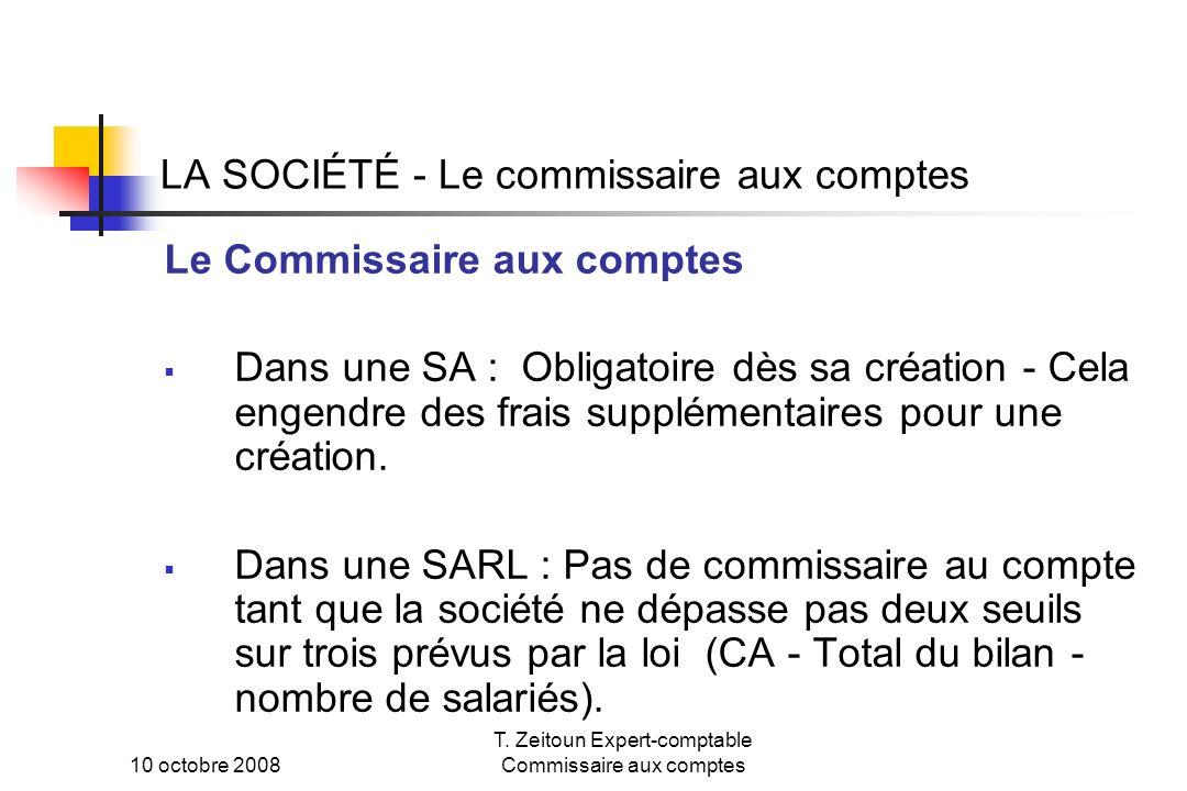 LA SOCIÉTÉ - Le commissaire aux comptes