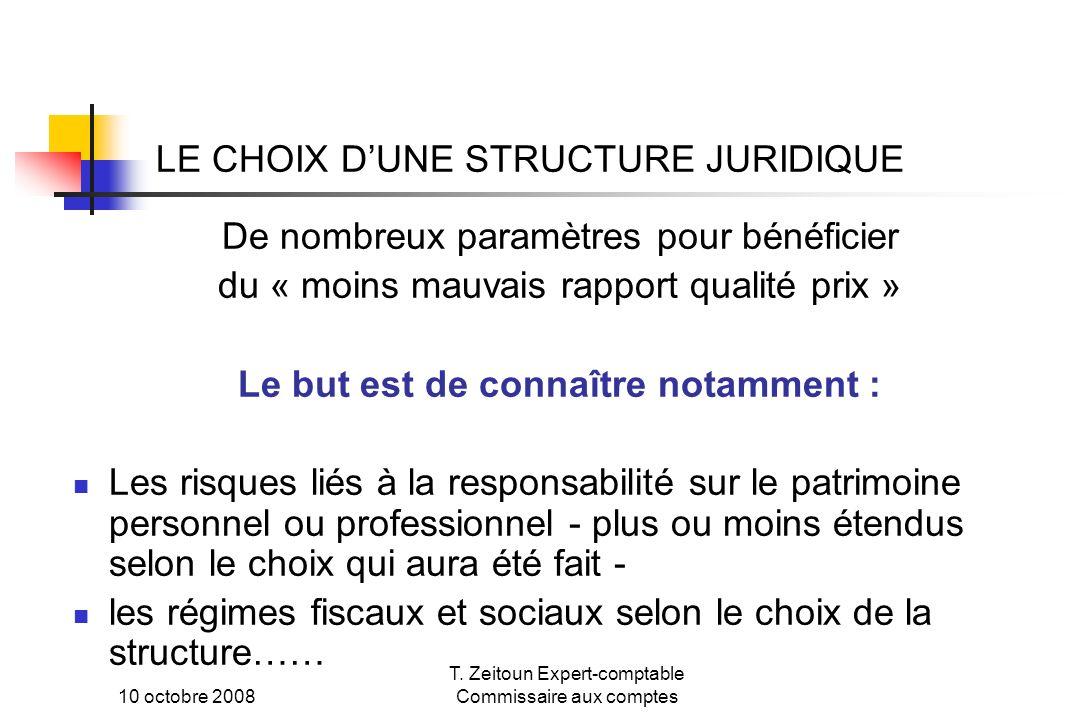 LE CHOIX D'UNE STRUCTURE JURIDIQUE