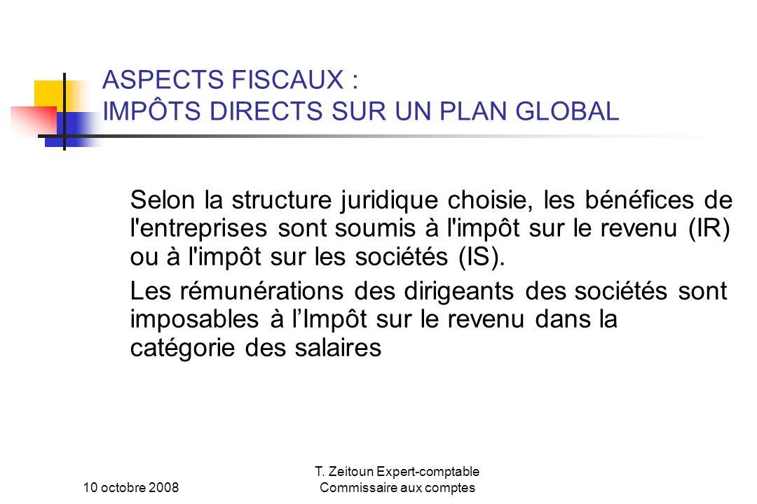 ASPECTS FISCAUX : IMPÔTS DIRECTS SUR UN PLAN GLOBAL