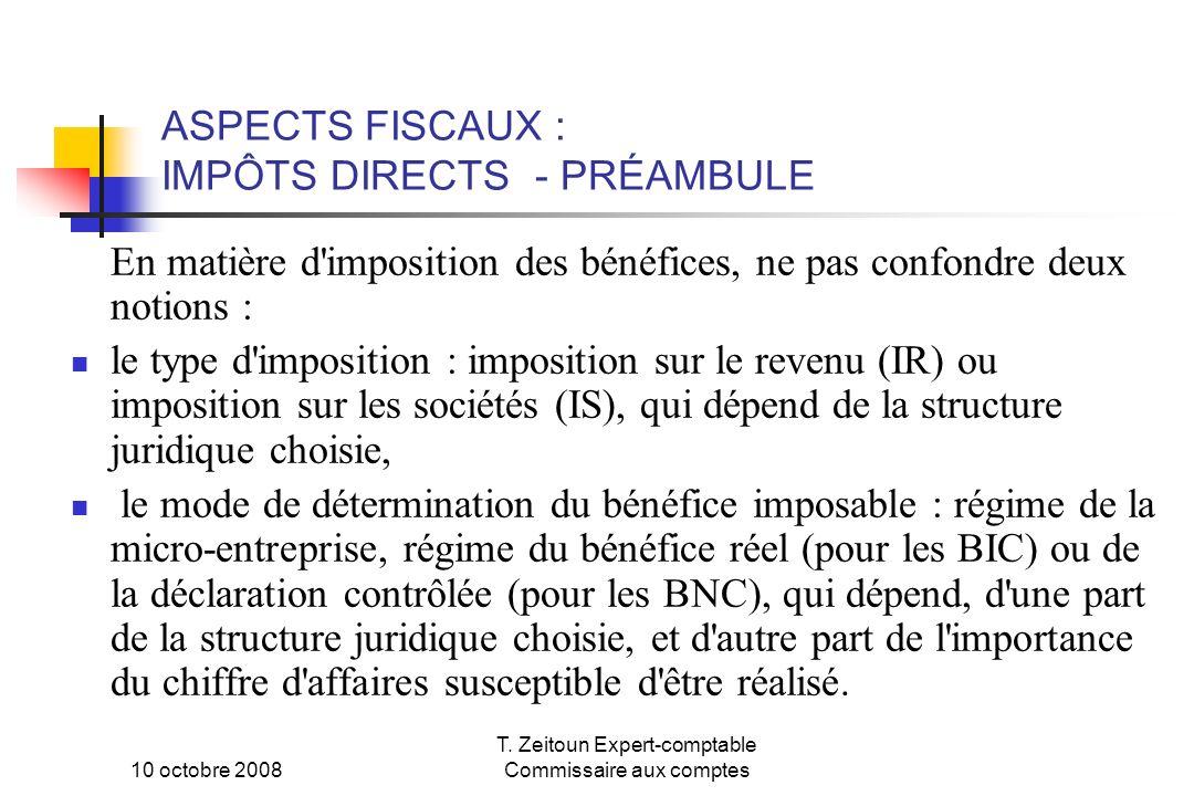 ASPECTS FISCAUX : IMPÔTS DIRECTS - PRÉAMBULE