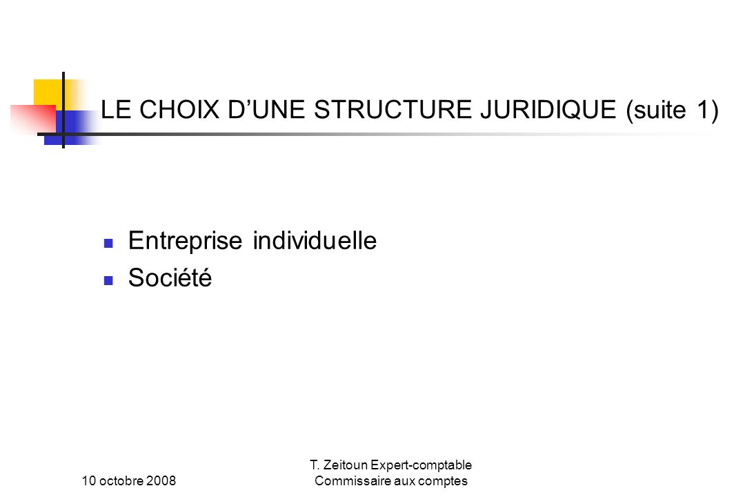 LE CHOIX D'UNE STRUCTURE JURIDIQUE (suite 1)