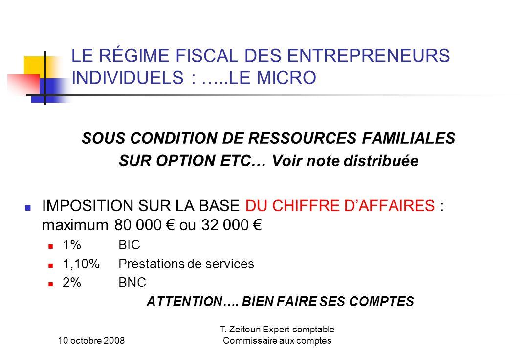 LE RÉGIME FISCAL DES ENTREPRENEURS INDIVIDUELS : …..LE MICRO