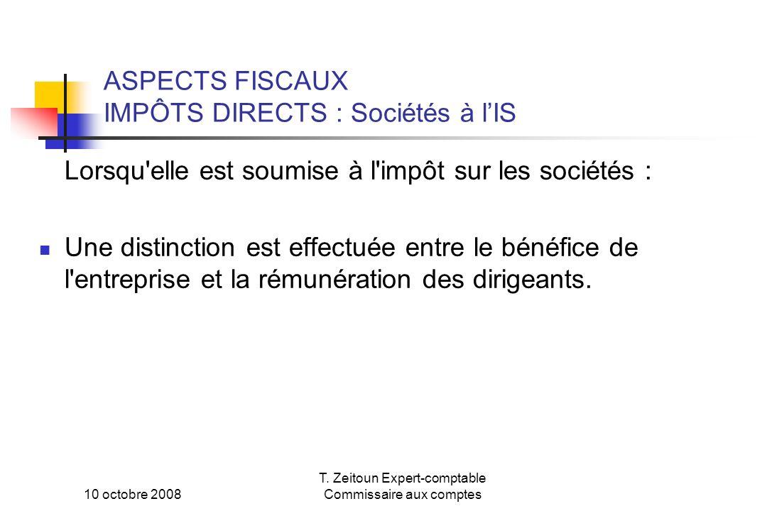 ASPECTS FISCAUX IMPÔTS DIRECTS : Sociétés à l'IS