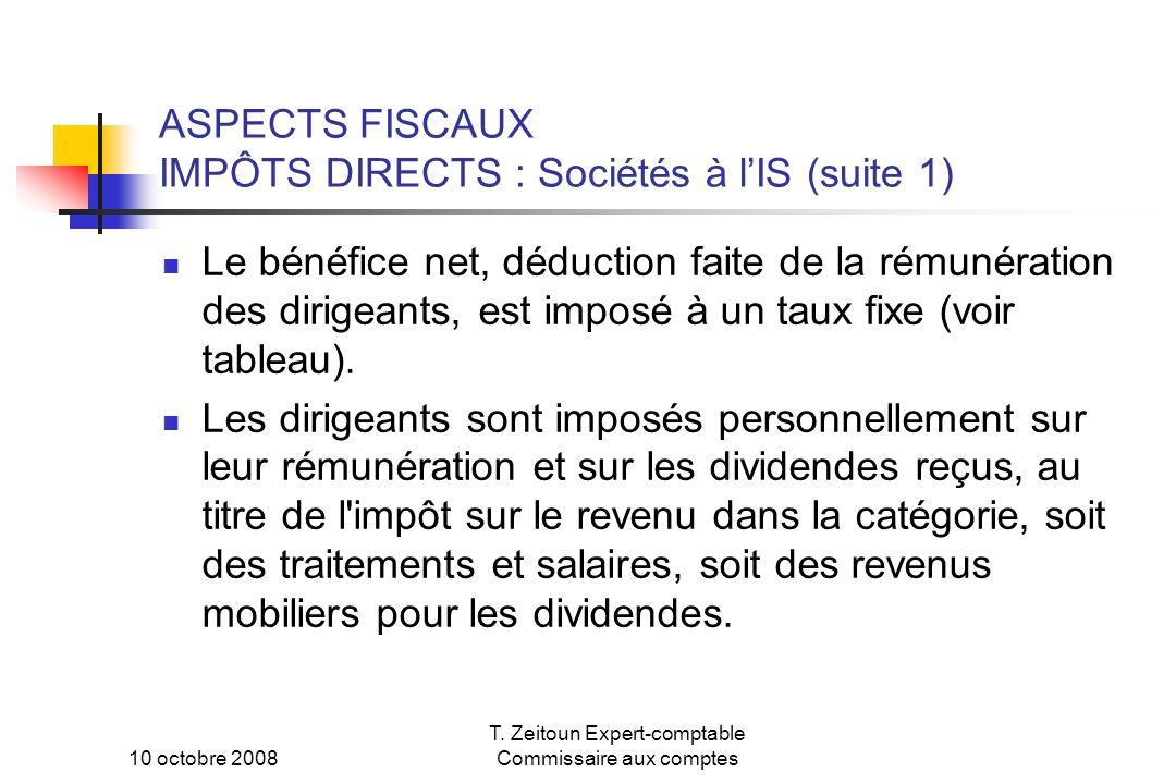 ASPECTS FISCAUX IMPÔTS DIRECTS : Sociétés à l'IS (suite 1)