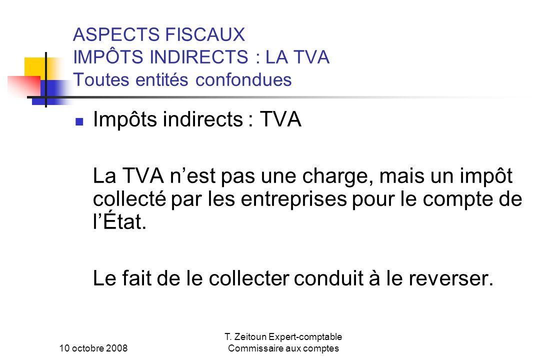 ASPECTS FISCAUX IMPÔTS INDIRECTS : LA TVA Toutes entités confondues