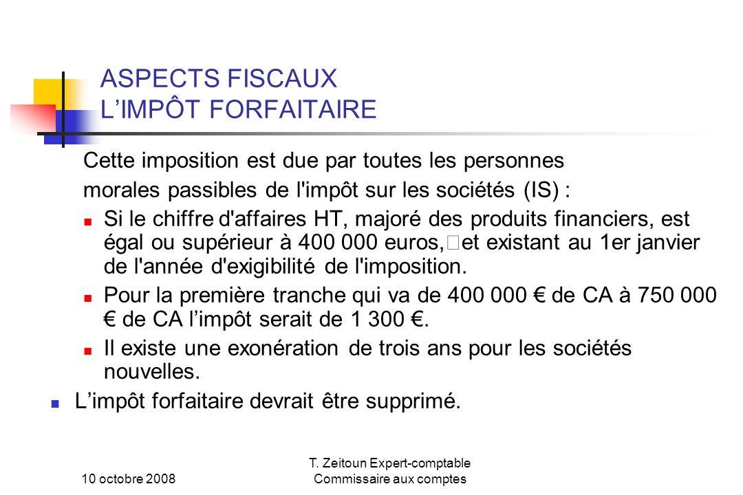 ASPECTS FISCAUX L'IMPÔT FORFAITAIRE