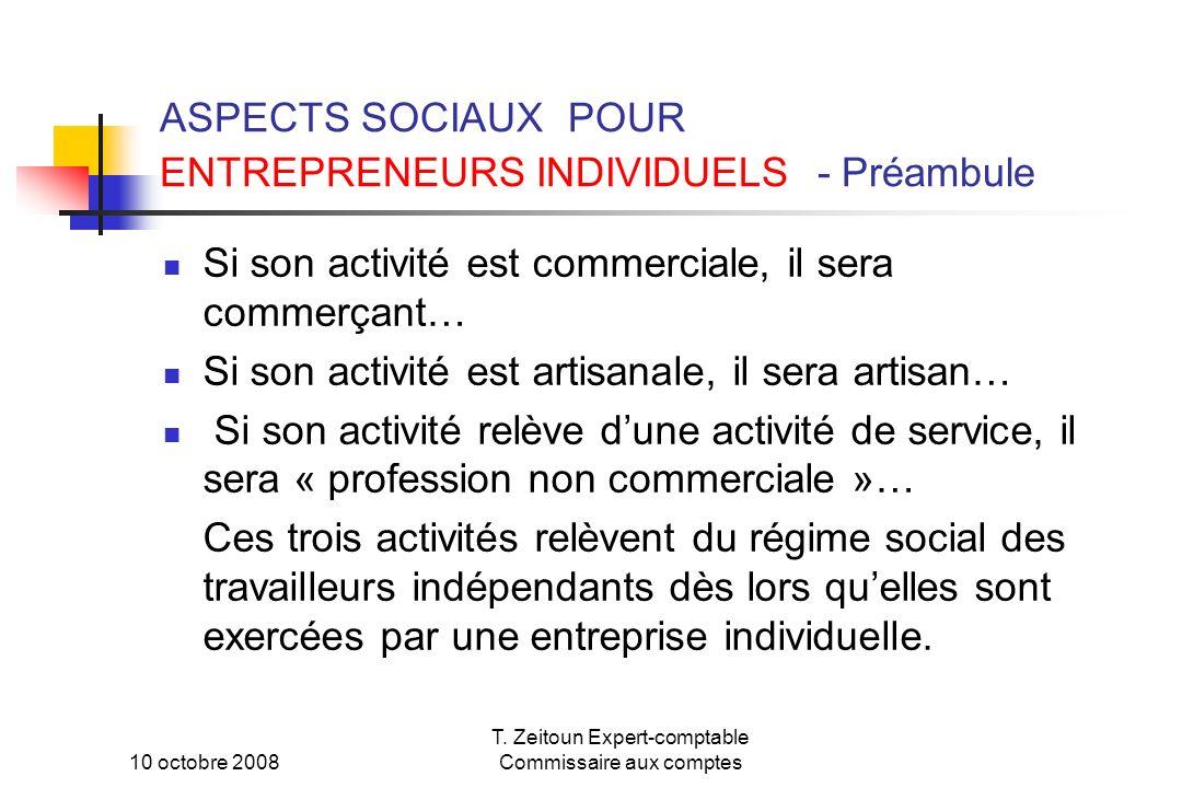 ASPECTS SOCIAUX POUR ENTREPRENEURS INDIVIDUELS - Préambule