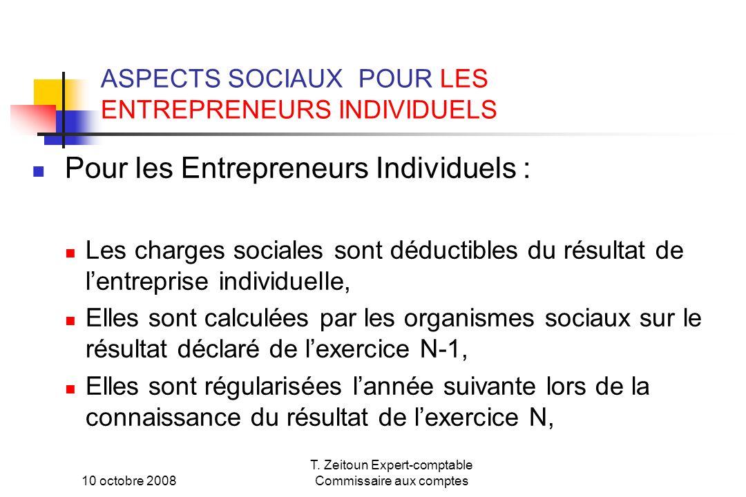 ASPECTS SOCIAUX POUR LES ENTREPRENEURS INDIVIDUELS