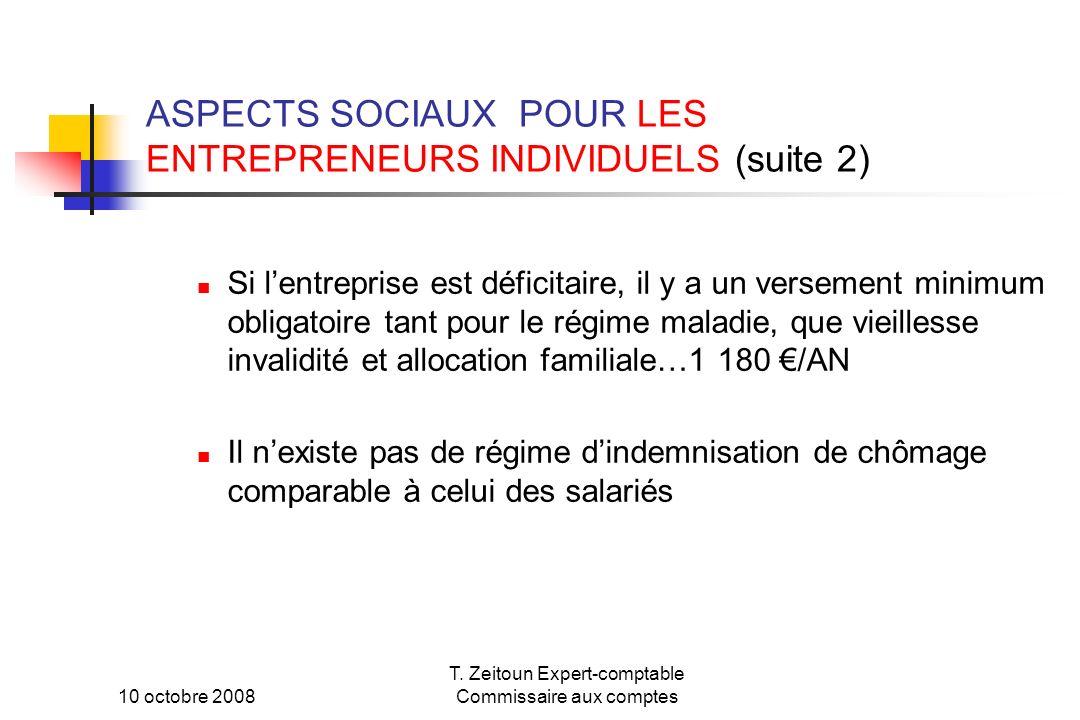 ASPECTS SOCIAUX POUR LES ENTREPRENEURS INDIVIDUELS (suite 2)