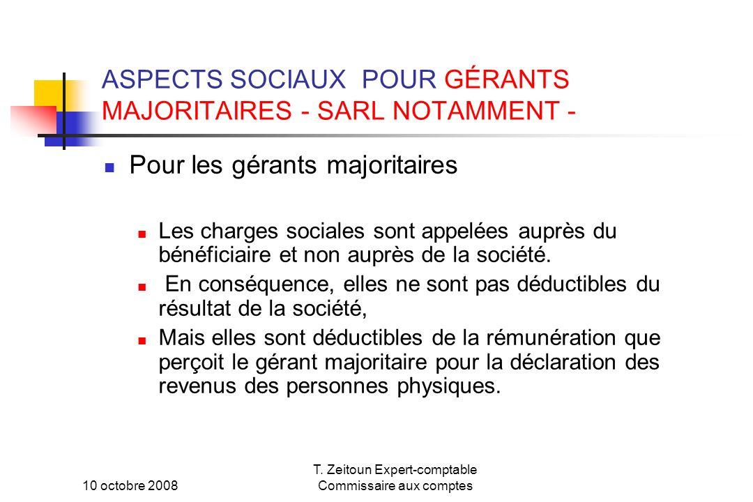 ASPECTS SOCIAUX POUR GÉRANTS MAJORITAIRES - SARL NOTAMMENT -