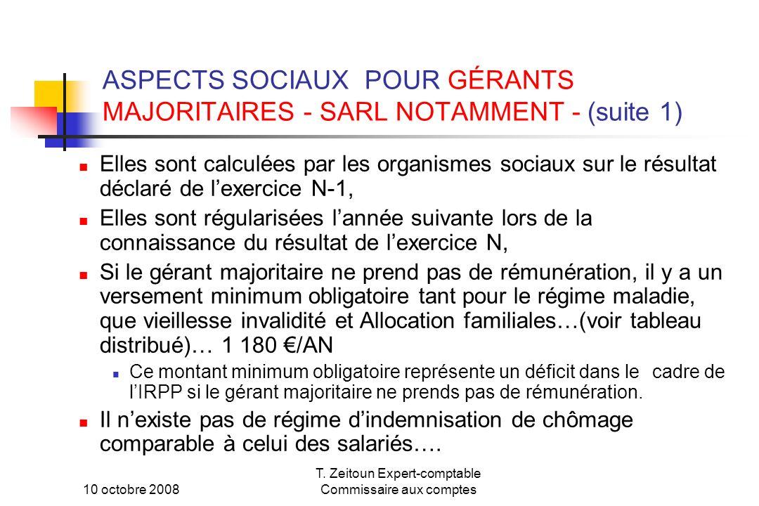 ASPECTS SOCIAUX POUR GÉRANTS MAJORITAIRES - SARL NOTAMMENT - (suite 1)