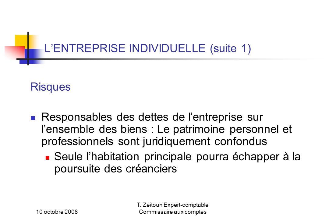 L'ENTREPRISE INDIVIDUELLE (suite 1)