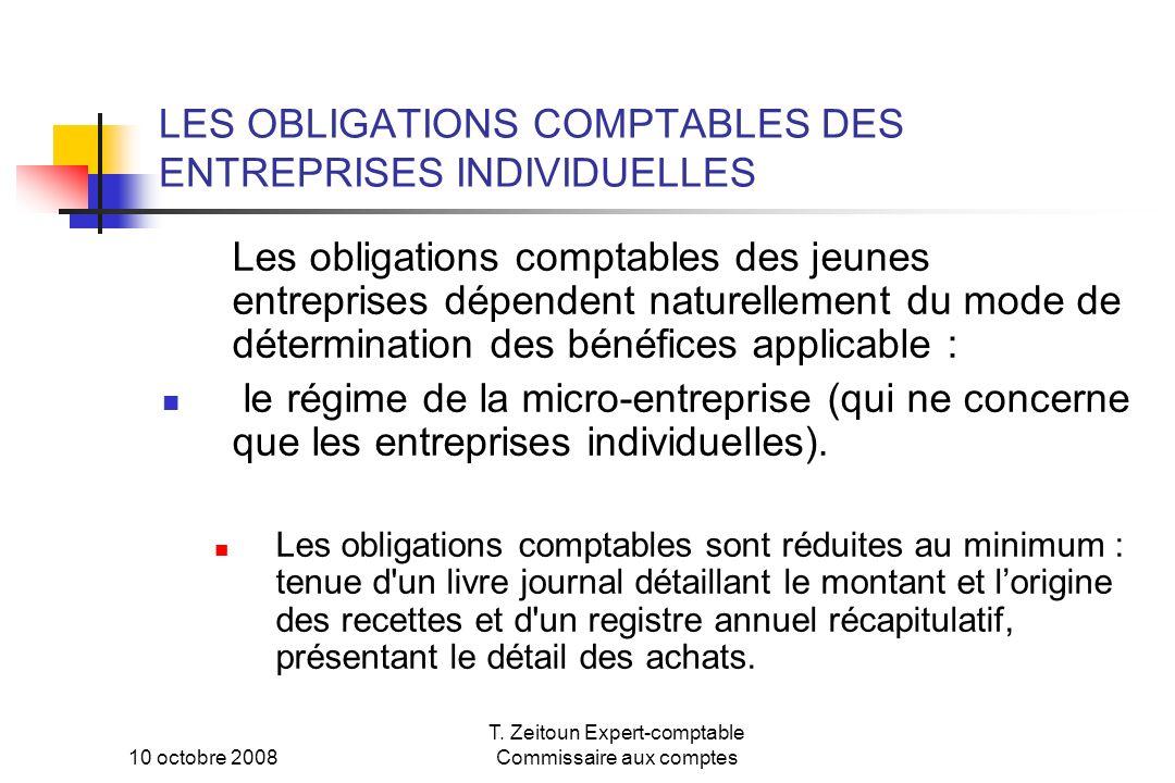 LES OBLIGATIONS COMPTABLES DES ENTREPRISES INDIVIDUELLES