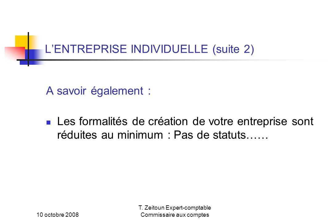 L'ENTREPRISE INDIVIDUELLE (suite 2)