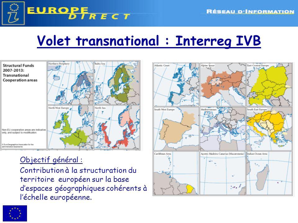 Volet transnational : Interreg IVB