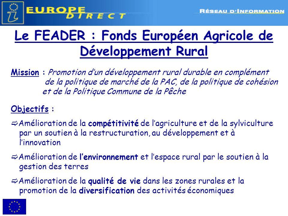 Le FEADER : Fonds Européen Agricole de Développement Rural