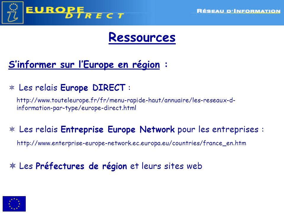 Ressources S'informer sur l'Europe en région :