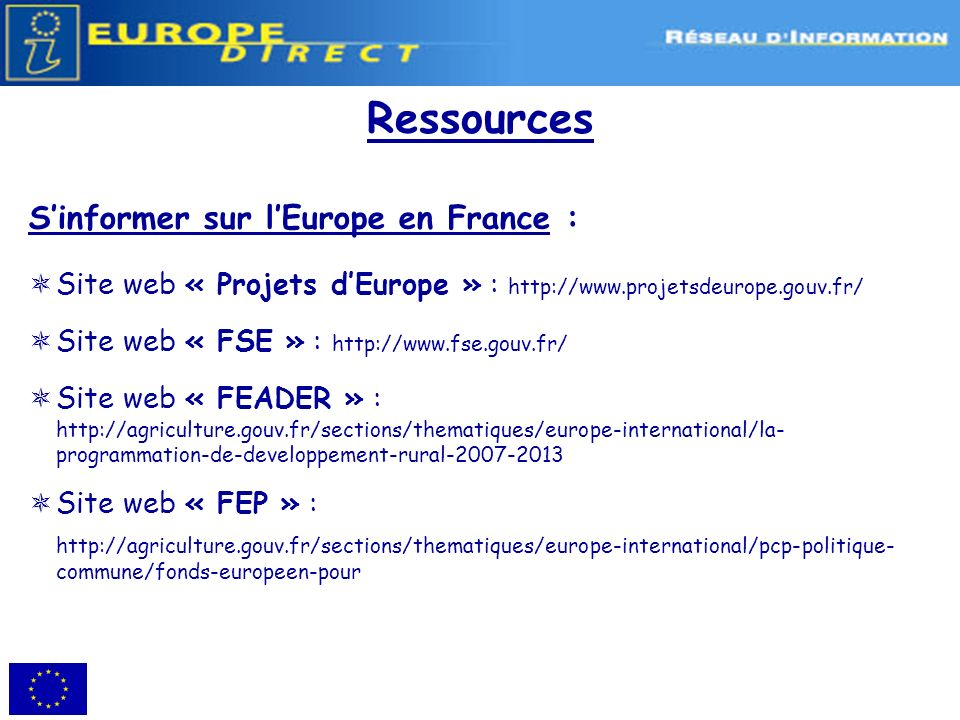 Ressources S'informer sur l'Europe en France :