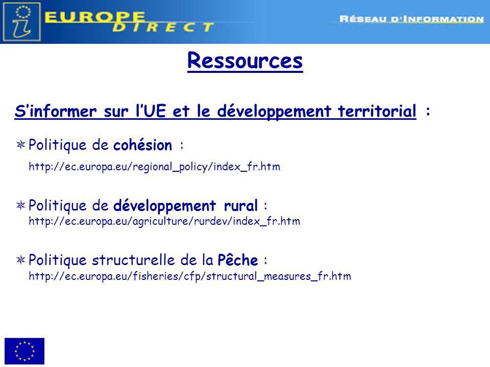 Ressources S'informer sur l'UE et le développement territorial :