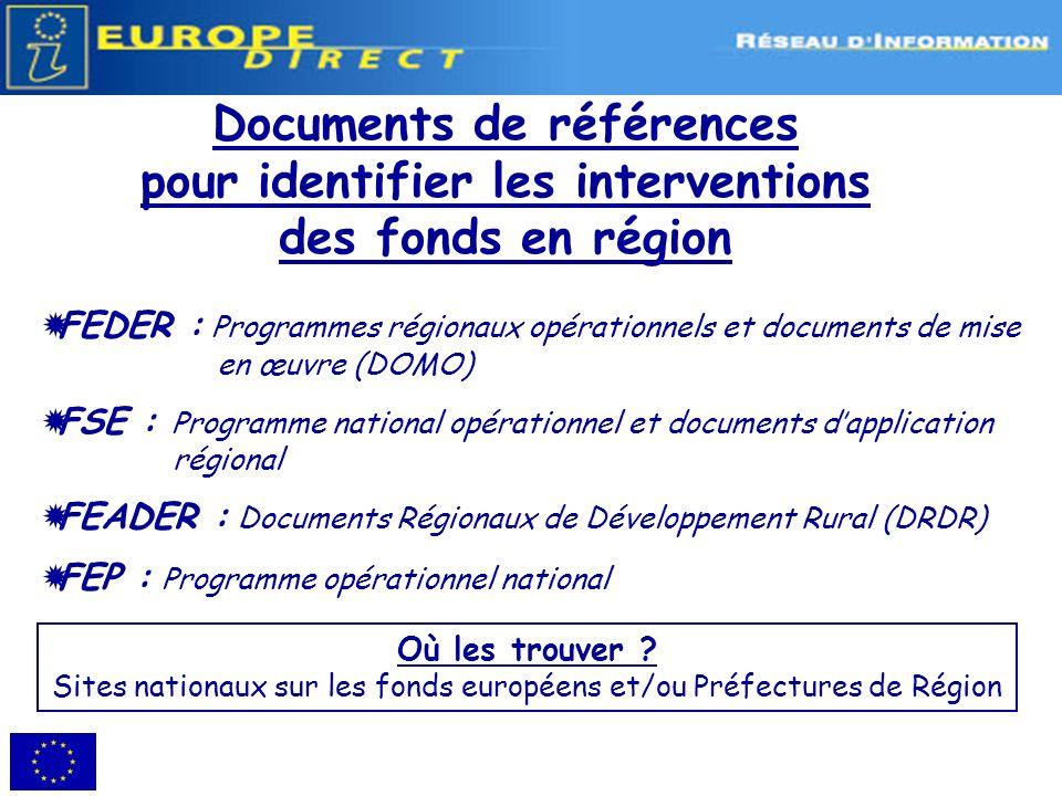 Sites nationaux sur les fonds européens et/ou Préfectures de Région