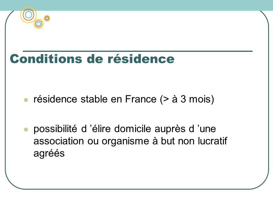 Conditions de résidence