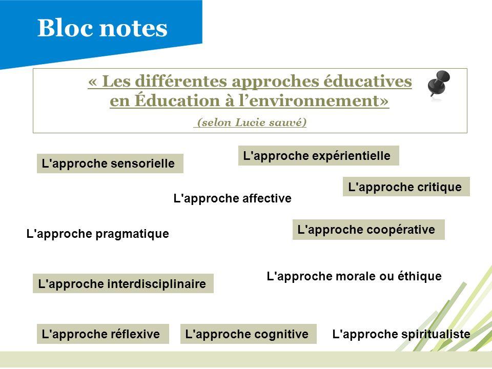 Bloc notes « Les différentes approches éducatives