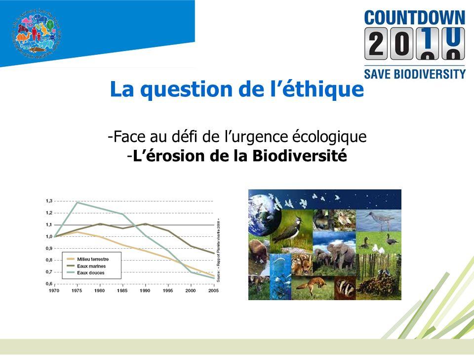 La question de l'éthique L'érosion de la Biodiversité